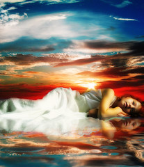 (mylaphotography) Tags: ocean sunset sky reflection art colors girl beautiful fairytale photomanipulation child digitalart dream dreaming fantasy imagination lovely susnet rahi childphotography jaber diamondclassphotographer bratanesque mylaphotography michiganstudiophotography fairytalephotography