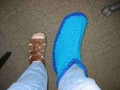 Crochet Felt Boot Slipper, pre-fulling