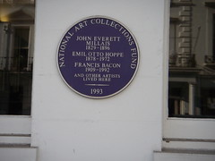 Photo of John Everett Millais, Emil Otto Hoppe, and Francis Bacon blue plaque