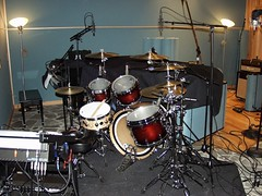 Drums set up for The Curves