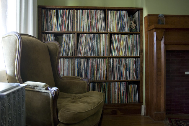 homemade record shelf