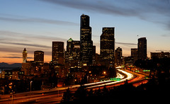 Downtown Seattle and I-5 (David M Hogan) Tags: seattle sunset washington downtown cityscape traffic i5 pugetsound interstate beaconhill elliotbay smithtower tailights headligts davidhogan