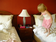 20070714 - (sadalit) Tags: red white blur lamp hotel losangeles jump jumping action beds v takeoff hotelbedjumping