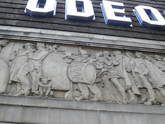 Odeon Cinema London West End - Art Deco Frieze (londonconstant) Tags: uk england london stone portland theatre gb coventgarden artdeco sherlockholmes drama londra westend jurassic moriarty theatreland costi brickandstone londonconstant basorelief literarylondon