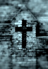 The Whisperer In Darkness.... (Ewciak & Leto) Tags: cemeteries wall dark sadness whisper sad darkness cross searchthebest bricks ghost gothic dream graves spooky fantasy horror nightmare legend canoneos350d tombs mystic