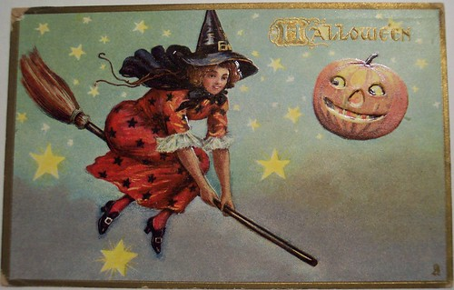 Vintage Halloween Postcard Tuck 183 Witch on Broom