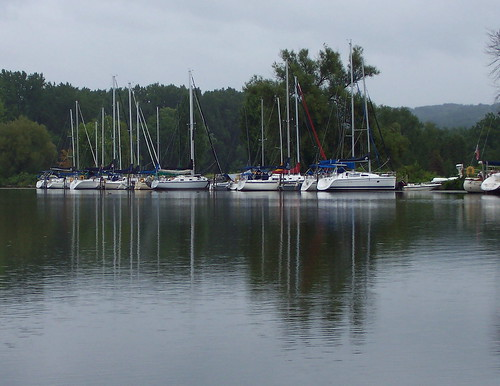 Sailboats on a rainy day