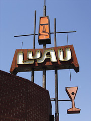 Fresno, Luau rooftop sign (jericl cat) Tags: sign neon room martini cocktail luau fresno signage backlit roadside tiki moai platic