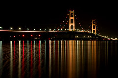 Night Reflections (James Marvin Phelps) Tags: bridge lake reflection night photography michigan huron mackinacbridge jmp mackinac nightonearth mandj98 jamesmphelps