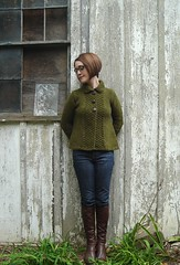 Drops cardigan (flint knits) Tags: fern green drops knitting knit swing jacket cardigan 1031 chunky tweed rowanspun mygarage