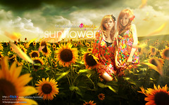 Sunflower () Tags: girls portrait sky flower nature girl beautiful beauty yellow digital photoshop wonderful garden aperture pretty friendship bright image sweet vision sunflower colourful emotions feelings designers creations creativecolor