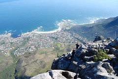 Abseilers prepare to drop down from Table Mountain, Cape Town, South Africa