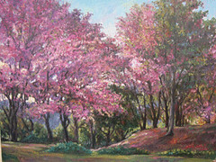 Spring Blossom in Chiang Mai 2, by Suppharat Ratcharin, oil on canvas, 70x90cm