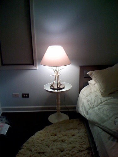 New bedside table & lamp