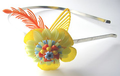 Yellow, Orange and Blue Vintage Flowers Headband