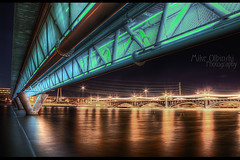 Light Rail Bridge over Tempe Town Lake (Mike Olbinski Photography) Tags: arizona water reflections bridges hdr tempe tempetownlake greatphotographers lightrailbridge millavenuebridges