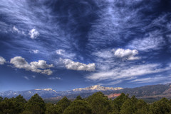 Pikes Peak (Thad Roan - Bridgepix) Tags: blue trees sky mountain snow nature clouds landscape photo colorado explore coloradosprings rockymountains pikespeak airforceacademy 201004
