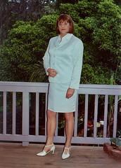Suit 13a (Melissa451) Tags: cd melissa crossdresser whitesuit skirtsuit satinsuit