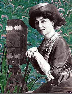A collage piece of Alice Guy Blache. Her black and white photo is superimposed on a green paisley pattern
