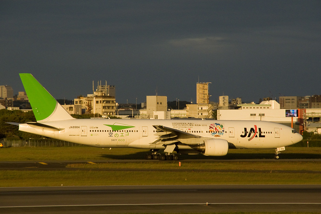 JAL ECO Jet (COP10 version) at dusk