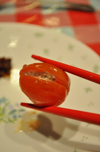 cherry tomato stuffed with preserved plum
