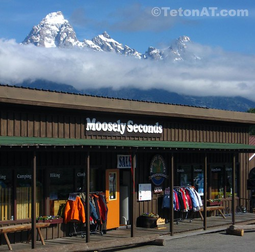 Moosely Seconds Mountaineering sits under the Grand Tetons
