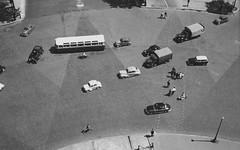 Leaving the Arc de Triomphe 1955 (hank the elder) Tags: blackandwhite bw paris 1955 arc 1950s crosswalk arcdetriomphe