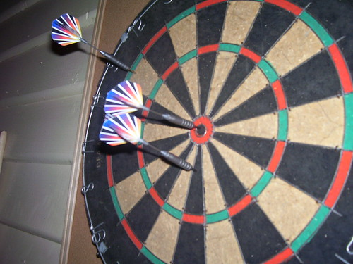 One bullseye multiple darts