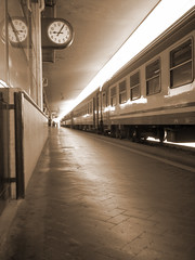 """""""Between the wish and the thing life lies waiting"""" (el Chovo) Tags: italy station sepia train waiting italia time bologna horloge temps stazione tempo treno tiempo flickrsbest orologia superbmasterpiece popsgallery"""