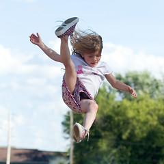 Plummet (Glenn Loos-Austin) Tags: sky fall girl rose photoshop children kid child falling airborne freefall plummet