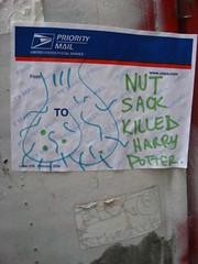Nut Sack Killed Harry Potter (historygradguy (jobhunting)) Tags: boston ma sticker massachusetts newengland harrypotter mass allston scrotum profanity nutsack