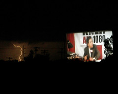 Drive-in strike (AzRedHeadedBrat) Tags: arizona southwest desert tucson drivein monsoon bolt strike lightning bigscreen motionpicture sharleneshappart deanzadriveintheater noideawhatmoviewasplaying