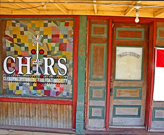 Quilt (Texas Finn) Tags: door old railroad light color building window glass colors sign museum rural train warning square lights town colorful paint track texas crossing decay painted rail railway plate blanket quilted historical patch patchwork flashing society cleburne patched supershot shieldofexcellence theunforgettablepicture