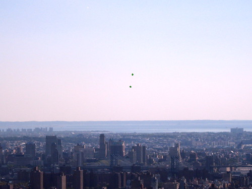 Green Balloons Above The City, 2