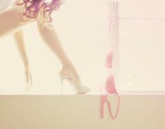 dress up. (Gaby J Photography) Tags: self soft pastel cream explore victoriasecret windowlight wavyhair pinkbra guessheels nudeheels gabyjeter