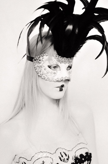 Studio Bridal Fashion, Couture, Headshot with Mask and Feathers. Photographed by Kent Johnson.