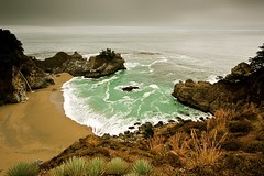 sweet spot (Andy Kennelly) Tags: ocean park trees green beach wet water one 1 waterfall big sand highway day view julia state pacific sweet cove sandy spot cliffs burns rainy smell sur pfeiffer
