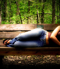 Relaxation (Arthur's Design) Tags: park wood trees columbus ohio woman plants feet beauty leaves sign shirt female forest canon bench outside woods legs outdoor stomach ring jeans rest xti themehalf