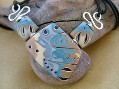 Moody Blues (julie_picarello) Tags: house yellow julie clay designs polymer gane mokume picarello