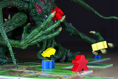 Cthulhu Ravages the Carcassonne Countryside (Alexander Marten Zhang) Tags: pig games gaming cthulhu carcassonne hplovecraft mythos meeple eurogames noneuclideangeometry oinkle klausjurgenwrede