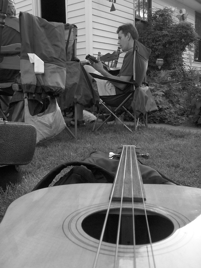 Brett's bass, Greg on Mandolin