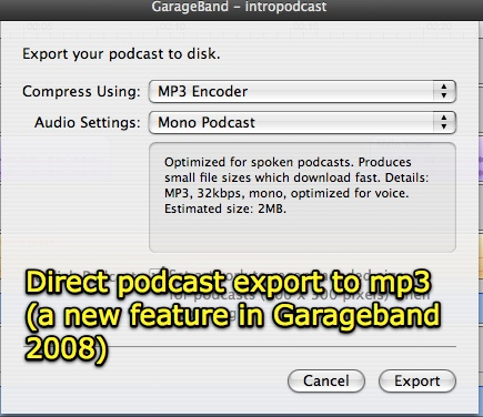 GarageBand direct export to mp3