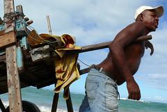 il fait trop chaud pour travailler !!!! (patochh) Tags: sea mer soleil coco grimace casquette effort plage chariot homme brsil calor charette cielbleu chaleur labeur