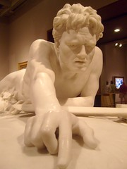 The Last of the Spartans (Katie Tegtmeyer) Tags: sculpture white man male art face muscles museum hair nude hand emotion reaching expression finger curls milwaukee sword marble mam dying wi spartan