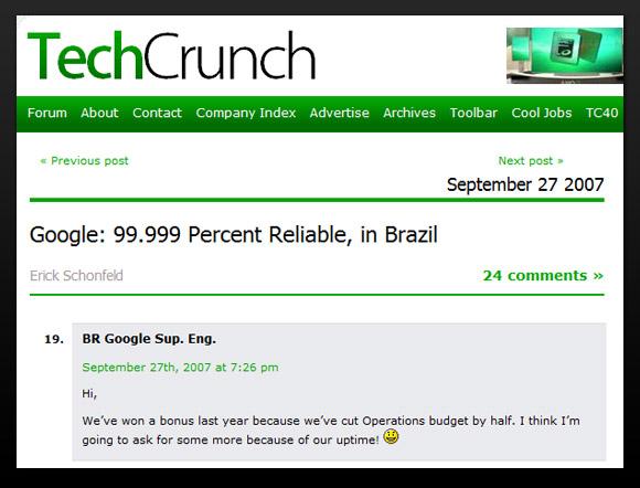 Google engineer comment in TechCrunch