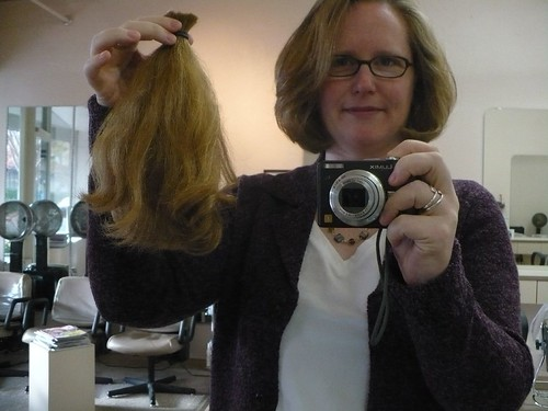 Me, my new haircut and the hair going to Locks of Love