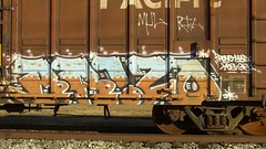 brizo (Making Stuff Blog) Tags: trains bnsf boxcarart fr8trains texasgraff texasbenching texasfr8s texasgraffitifreighttrains goldenwestservicefr8s