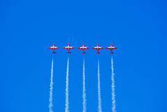 Five Canadian Snowbirds flying abreast (Forest Wang) Tags: sky ontario canada june expo aviation kitchener 200iso airshow waterloo planes snowbirds 2010 f63 breslau kitchenerwaterloo 210mm canadiansnowbirds 423pm june2010 11000secatf63 sonydslra230 mygearandmepremium fathersday2010