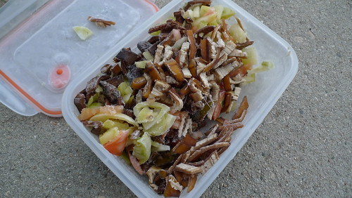 food scraps freezer container with food bits