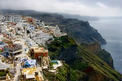 Fira over the Aegean (elliot23) Tags: ocean city travel sea storm weather brewing landscape island greek scenery europe gorgeous aegean santorini greece cyclades fira wowiekazowie